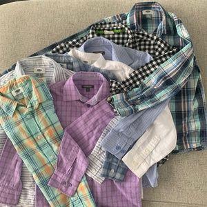 Bundle of 8 Boys Dress Shirts Button Down Size 8
